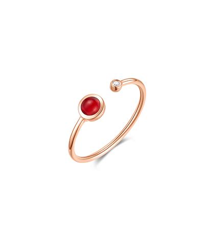 Yummy love爱的食刻汤圆系列配镶红玛瑙戒指